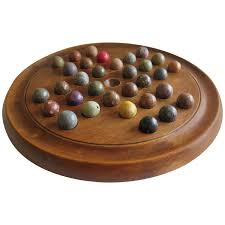Wooden Game With Marbles 100th Century Marble Solitaire Board Game with 100 Handmade Marbles 22