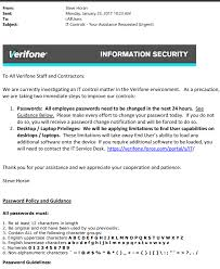an internal memo sent by verifone s chief information officer to all staff and contractors telling