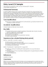 entry levle entry level cv sample myperfectcv