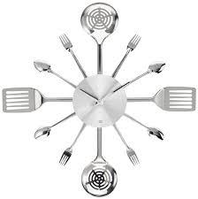 White Kitchen Wall Clocks Modern Kitchen Wall Clocks Silverware Steel Kitchen Utensils