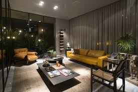 modern loft furniture. modern loft living room with yellow leather sofa and low in height coffee table furniture