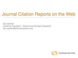 Ppt Journal Citation Reports On The Web Powerpoint Presentation