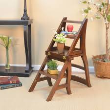 folding wood library ladder chair free today com 15994656