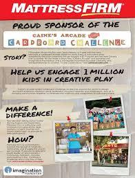 mattress firm ad. #MattressFirm Is A Proud Sponsor Of The Imagination Foundation Cardboard Challenge! #DayofPlay Join Mattress Firm Ad U