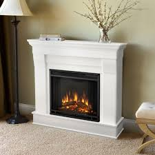 real flame cau 41 in electric fireplace in white