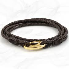 mens elegant brown quad wrap bolo leather bracelet with gold colored steel lobster clasp by tribal