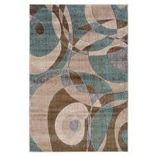 milan collection brown and turquoise 8 ft x 10 ft indoor area rug