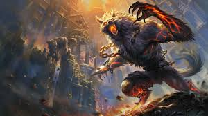 wallpaper lycanthrope dota 2 ruin chain demon art 1920x1080