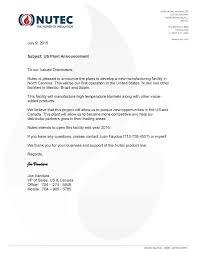 us plant announcement nutec high temperature insulation wools nutec plant announcement letter 7 9 15