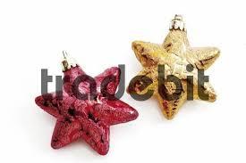 Christbaumschmuck Sterne Rot Und Gold Runterladen Abstrakt