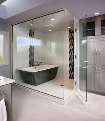 Modern Black Fresstanding Tub With Shower And Faucet In The Glass Door Room  Design Ideas