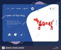 Dog Web Design Quality One Page Year Of The Dog Website Template Vector Eps