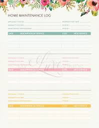 Home Maintenance Tracker Home Maintenance And Warranty Tracker Home Management Folder Editable Printable Pdf