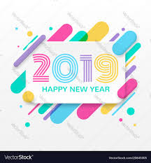 2019 Happy New Year Greeting Card Royalty Free Vector Image