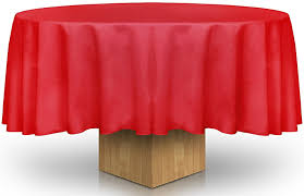 round table cloth 90 inch red color with professionally hemmed corners resistant