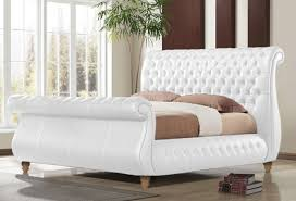 time living swan white 5ft kingsize real leather bed frame by time living