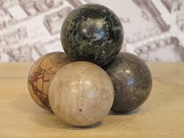 Decorative Marble Balls Set of Four Early 100th Cent Marble Balls Decorative Items 47