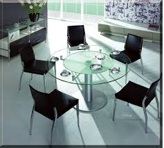 glass dining room table sets. Furniture. Transparent Round Glass Dining Tables With Chrome Pipe Buffer And Base Combined By Room Table Sets