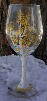 Handpainted Aspen Tree Wine Glasses by JackalopeFarm on Etsy