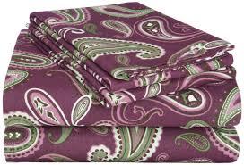 Paisley Bedroom Twin Flannel Sheet Set Purple Green Multi 3 Pc Paisley Bedroom Cotton