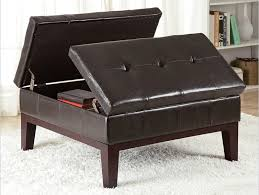 This Square, Button Tufted Leather Ottoman From Coaster Features  Dual Hinged Opening With Interior .