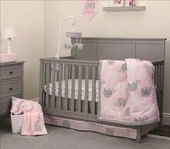 nojo pink grey elephant girl 4 pc crib