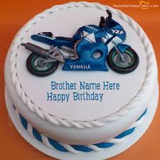 Write Name On Bike Birthday Cake For Brother Happy Birthday Wishes