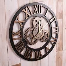 large gear wall clock vintage handmade