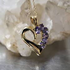 vintage 14k tanzanite heart pendant