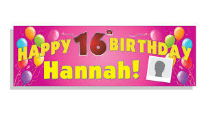 Happy Birthday Banners Personalized Happy Birthday Banner Pink Custom Text Photo Banner Man Co Uk