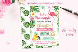 Tropical Party Invitations Flamingo Invitation Pineapple Birthday Party Invitation Tropical