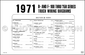 1971 ford pickup and truck wiring diagram original f100 f250 f350 table of contents page