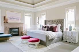 Tranquil Master Bedroom With Tufted Headboard U0026 Pops Of Color