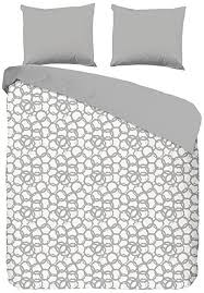good morning double size 100 percent cotton duvet cover with circle pattern grey