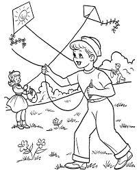 Small Picture Kids Playing Kite on Spring Time Coloring Page Barangan untuk