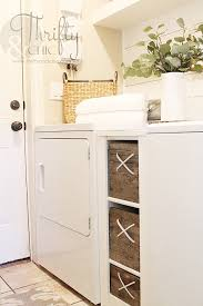 yellow brick home keeps all the laundry off their tiny floor e by utilizing these great