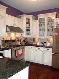 Kitchen Style White Glass Cabinet Doors And Purple Painted Wall