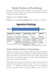 nature v nurture in psychology by theresa lowry lehnen lecturer of