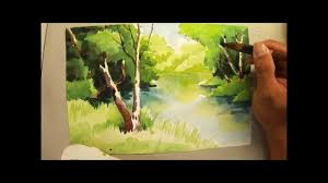 watercolour painting of trees and river 690 art class