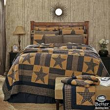 western quilts bedding sets blue brown primitive plaid star rustic western country home quilt bedding set