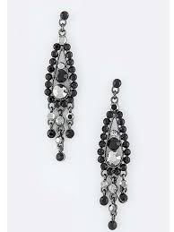 black crystal rhinestone chandelier earrings