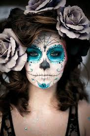 day of the dead makeup and costume blue and silver sugar skull look