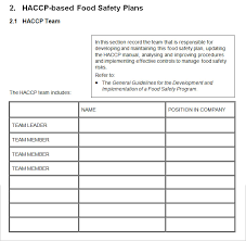 Haccp Plan Template Filename My College Scout