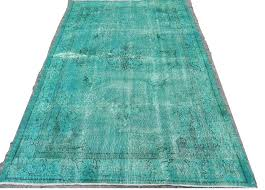 turquoise blue color overdyed vintage turkish rug turquoise blue rag rug