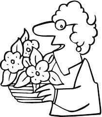 Disegno Di Nonna Con Vaso Di Fiori Da Colorare Disegni Da Colorare