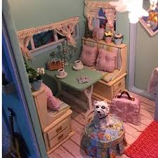 diy dollhouse miniature wooden assembled with activated light handmade kits building model travel