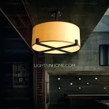 drum shade semi flush ceiling light grand white fabric wrought iron mount spring
