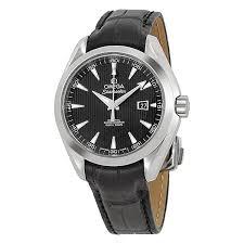 omega aqua terra black dial black leather las watch 23113342001001