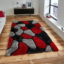 red and grey rugs add a hand carved abstract design and your onto a winner with