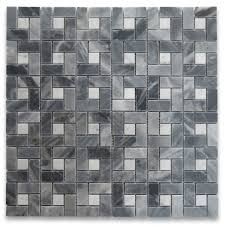 bardiglio gray target pinwheel mosaic tile w white dots polished